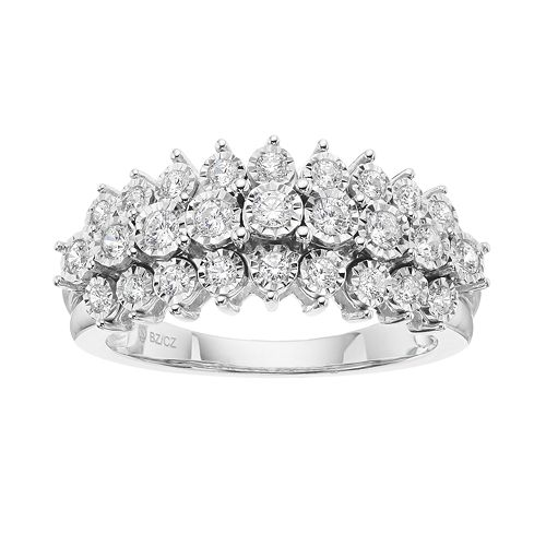 1/2 Carat T.W. Diamond Sterling Silver 3-Row Ring