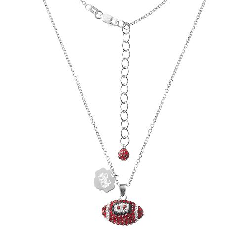 Mississippi State Bulldogs Sterling Silver Team Logo & Crystal Football Pendant Necklace