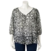 About A Girl 3-Button Sheer Top - Juniors' Plus