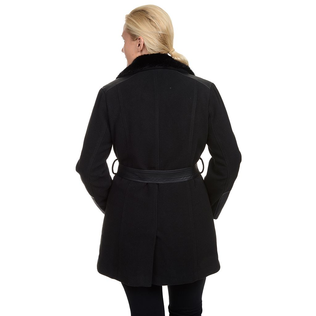 Plus Size Excelled Belted Faux-Wool Jacket