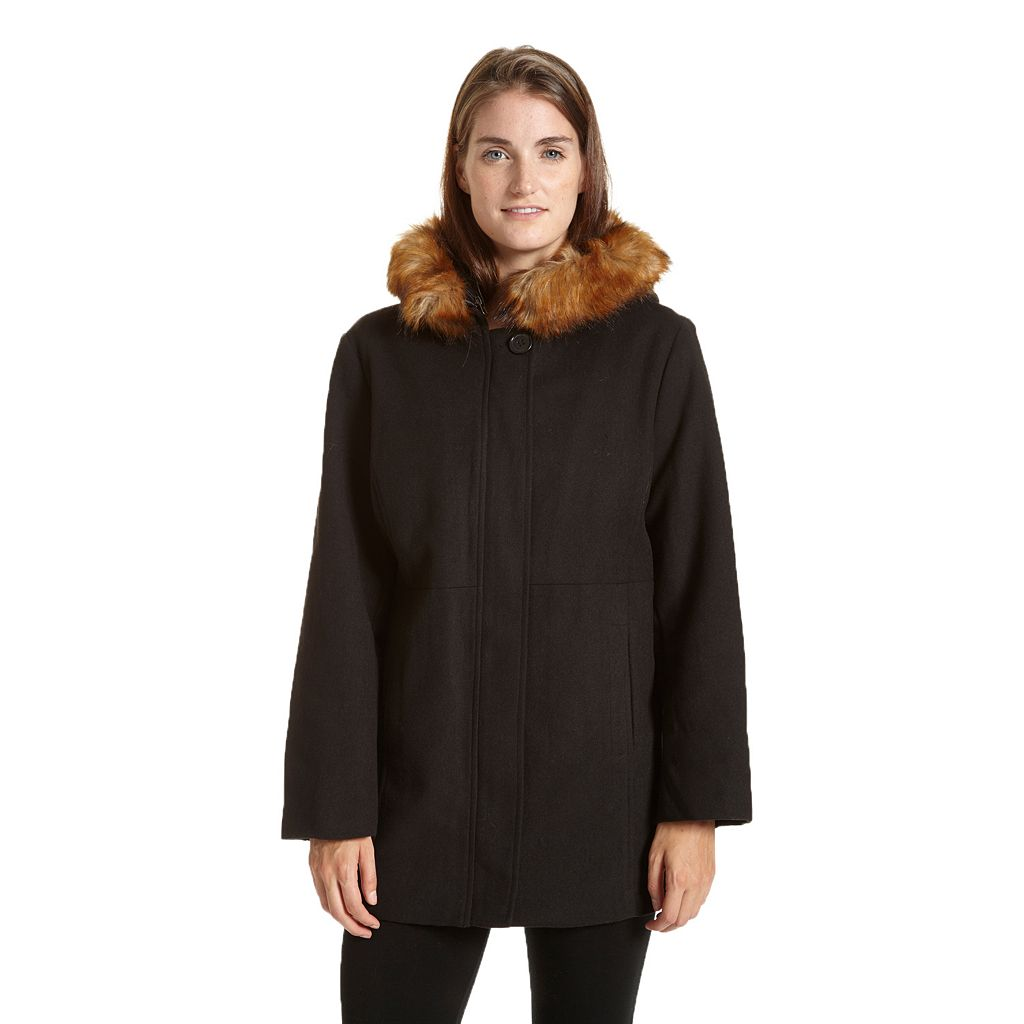Women's Excelled Hooded Faux-Wool Jacket