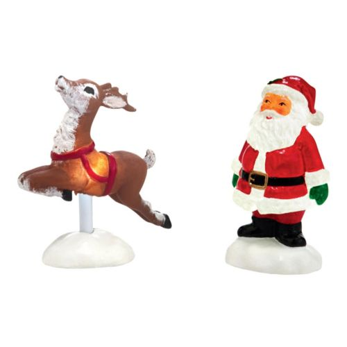 Department 56 Indoor Light-Up Santa Yard Village Decor Set