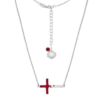 Mississippi State Bulldogs Sterling Silver Crystal Sideways Cross Necklace