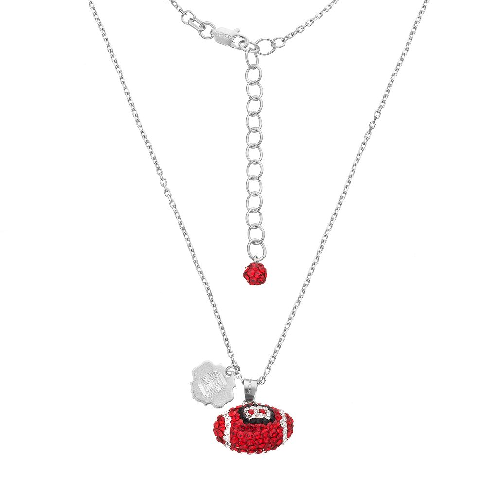 North Carolina State Wolfpack Sterling Silver Team Logo & Crystal Football Pendant Necklace