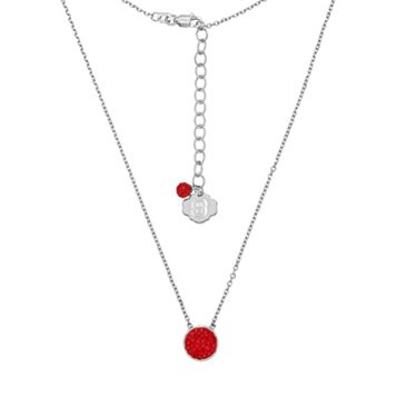 North Carolina State Wolfpack Sterling Silver Crystal Disc Necklace