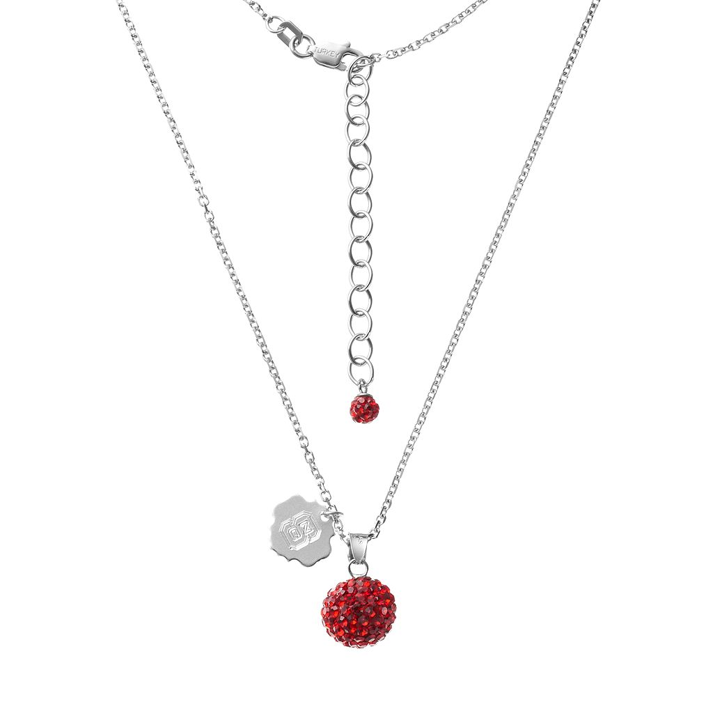 North Carolina State Wolfpack Crystal Sterling Silver Team Logo & Ball Pendant Necklace