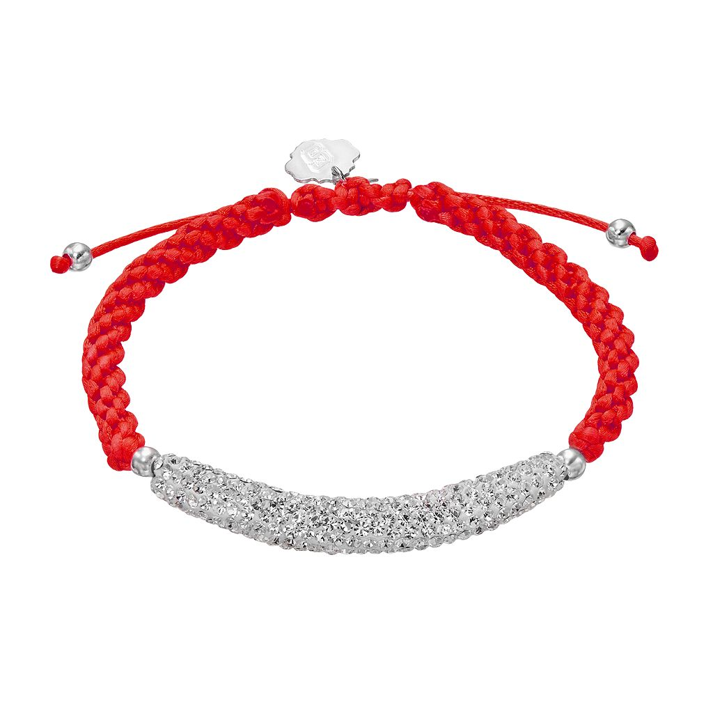 North Carolina State Wolfpack Crystal Sterling Silver Bar Link & Team Logo Charm Slipknot Bracelet