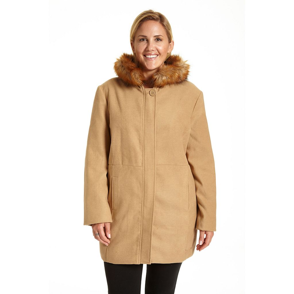 Plus Size Excelled Hooded Faux-Wool Jacket