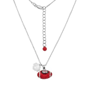 Ohio State Buckeyes Sterling Silver Team Logo & Crystal Football Pendant Necklace