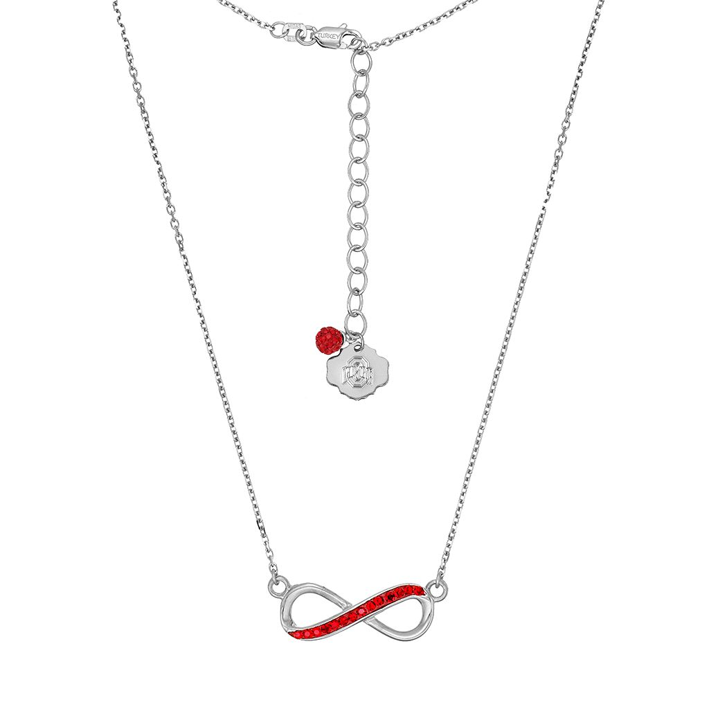 Ohio State Buckeyes Sterling Silver Crystal Infinity Necklace