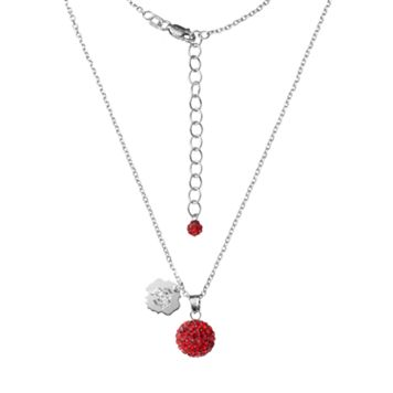 Ohio State Buckeyes Crystal Sterling Silver Team Logo & Ball Pendant Necklace