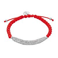 Ohio State Buckeyes Crystal Sterling Silver Bar Link & Team Logo Charm Slipknot Bracelet