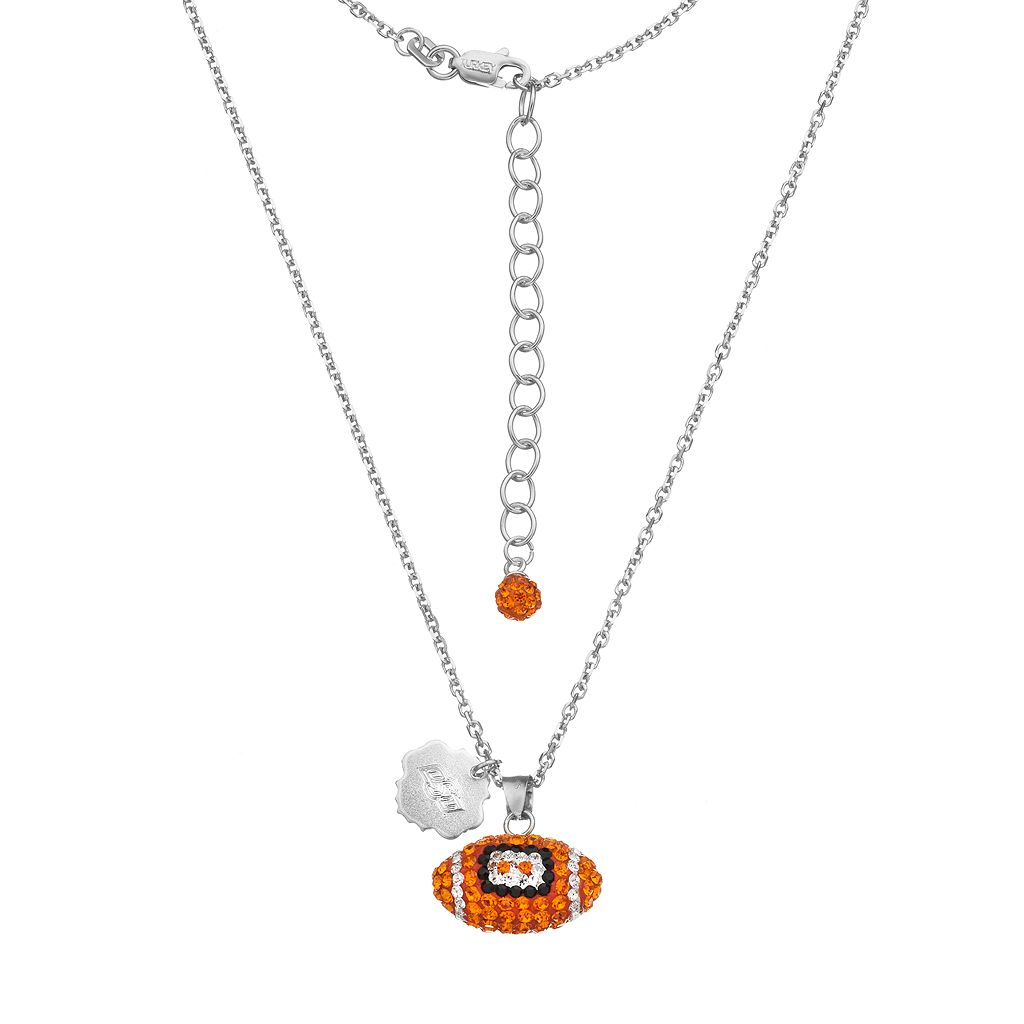 Oklahoma State Cowboys Sterling Silver Team Logo & Crystal Football Pendant Necklace