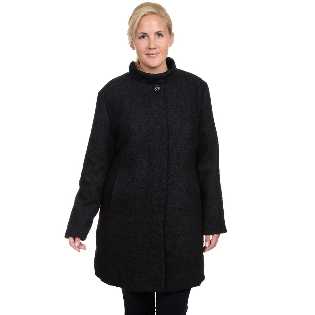 Plus Size Excelled Boucle Faux-Wool Coat