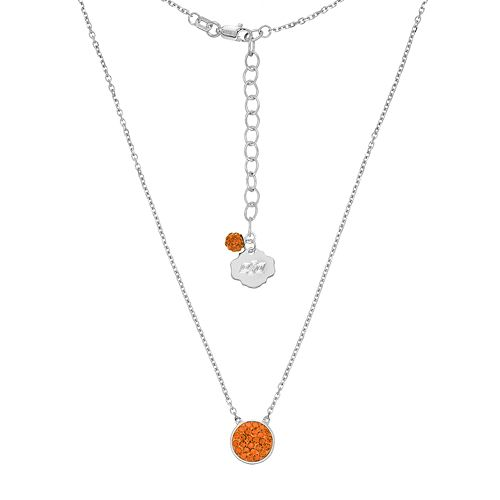 Oklahoma State Cowboys Sterling Silver Crystal Disc Necklace