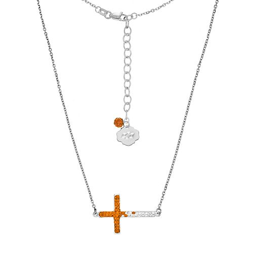 Oklahoma State Cowboys Sterling Silver Crystal Sideways Cross Necklace
