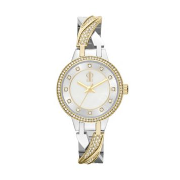 Jennifer Lopez Women's Julia Two Tone Stainless Steel Half-Bangle Watch