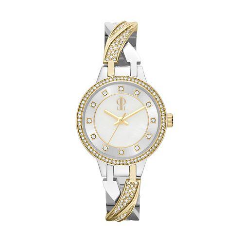 Jennifer Lopez Women's Julia Two Tone Stainless Steel Half-Bangle Watch