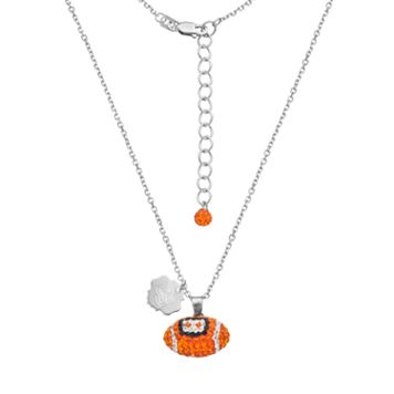 Oregon State Beavers Sterling Silver Team Logo & Crystal Football Pendant Necklace