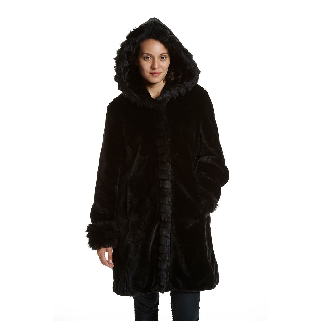 Women's Excelled Hooded Faux-Fur Jacket