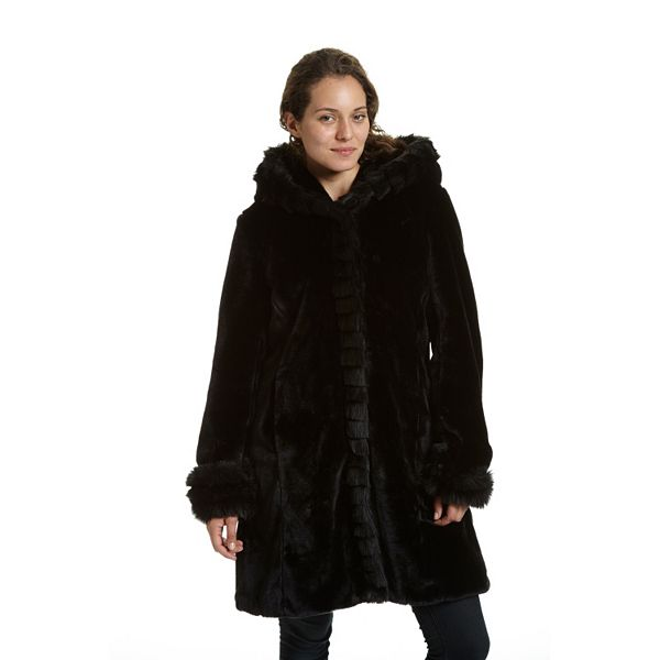 Women S Excelled Hooded Faux Fur Jacket, Fake Fur Coat Hood