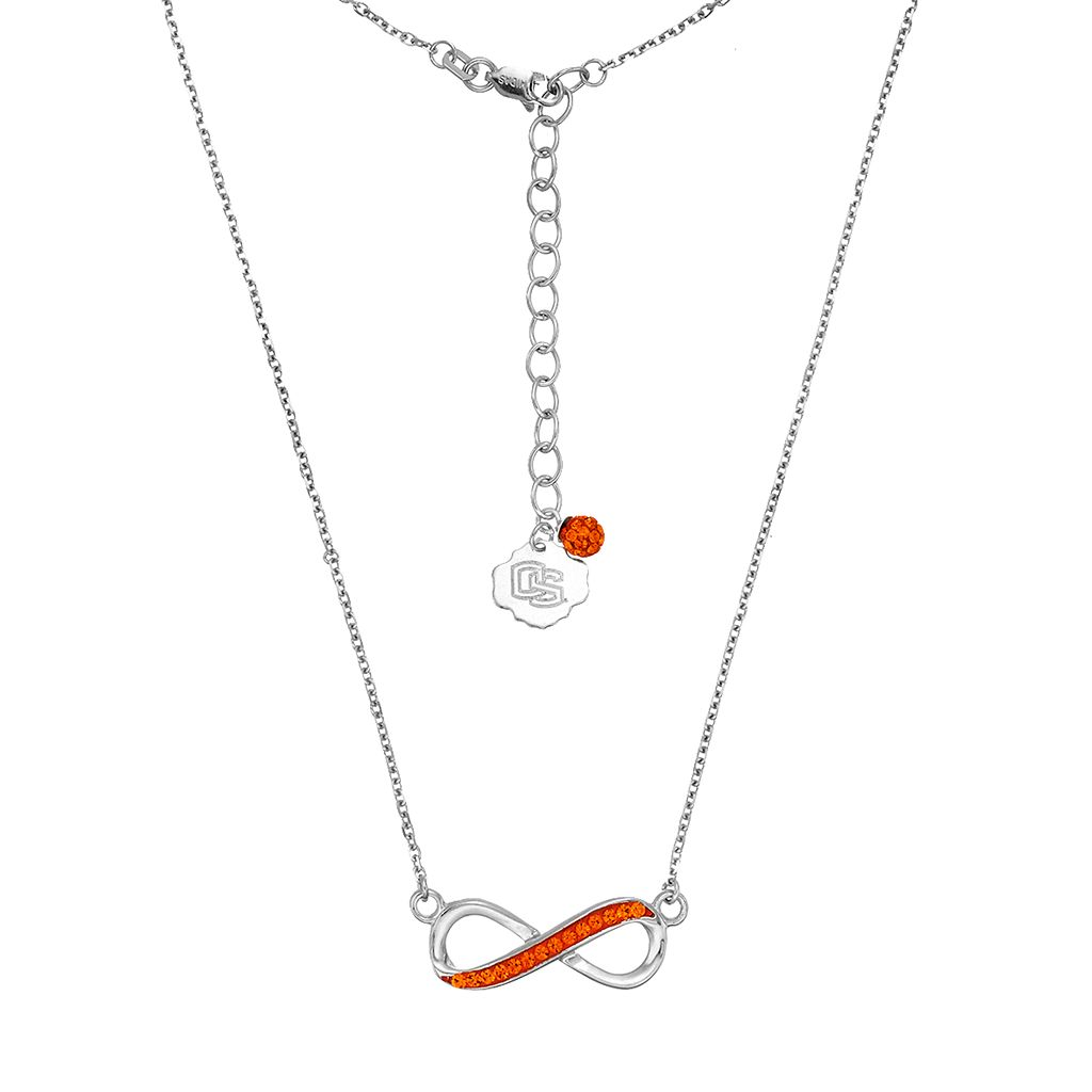 Oregon State Beavers Sterling Silver Crystal Infinity Necklace