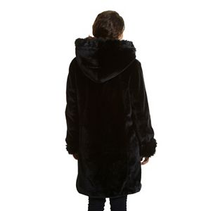 Plus Size Excelled Hooded Faux-Fur Jacket