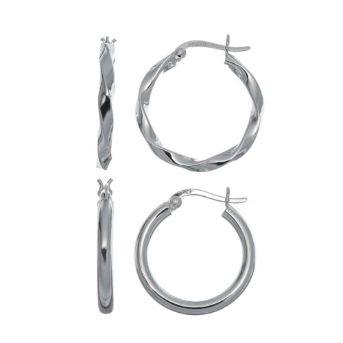 Pure 925 Sterling Silver Twisted Hoop Earring Set