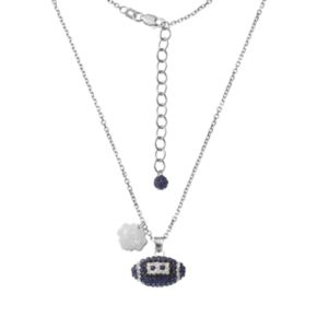Penn State Nittany Lions Sterling Silver Team Logo & Crystal Football Pendant Necklace