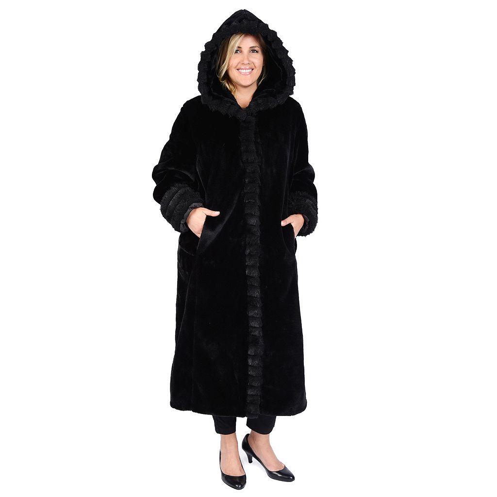 Plus Size Excelled Hooded Faux-Fur Walker Jacket