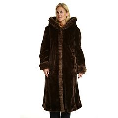 Plus Size Excelled Hooded Faux-Fur Walker Jacket
