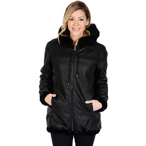 Women's Excelled Hooded Reversible Faux-Leather Jacket