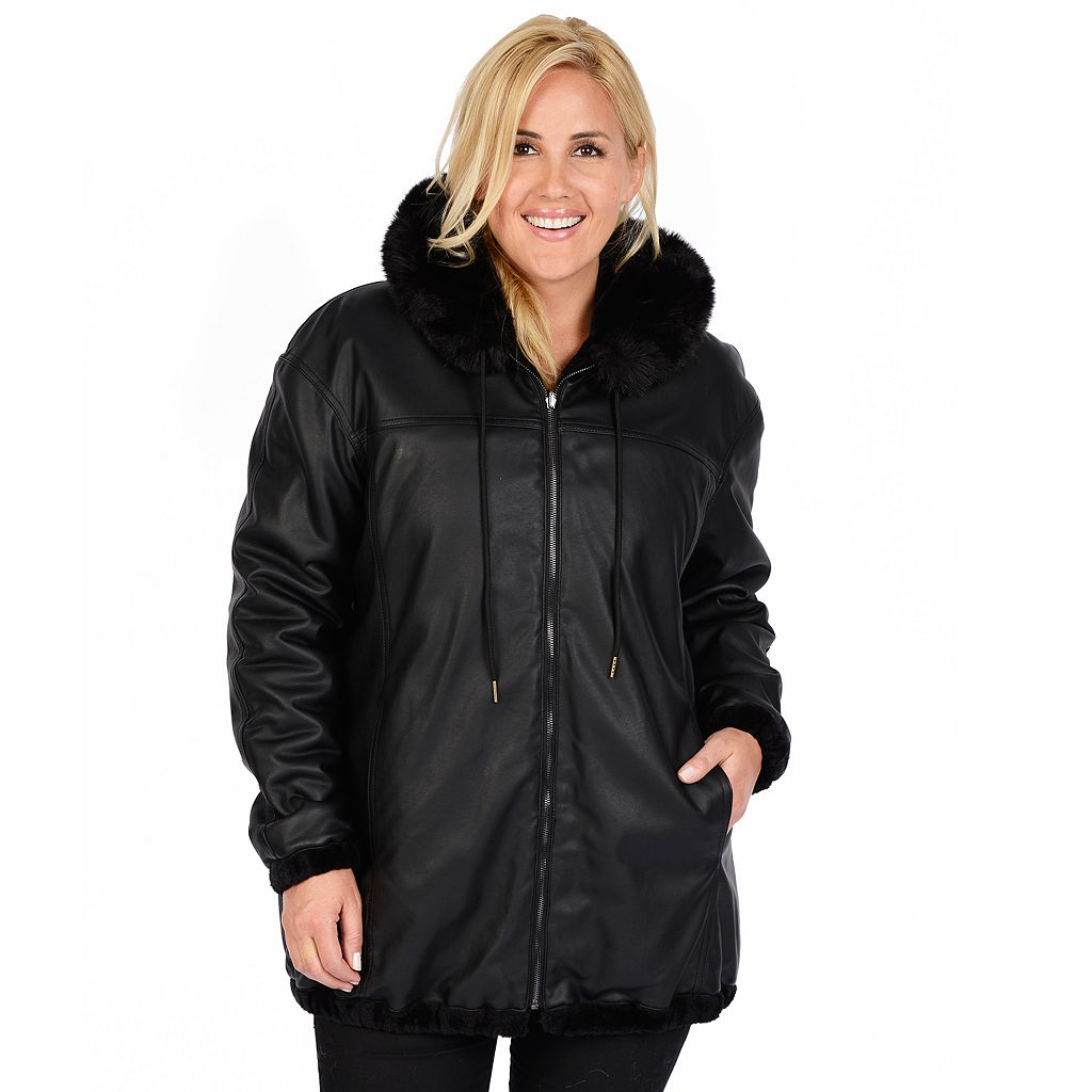 Plus Size Excelled Hooded Reversible Faux-Leather Jacket