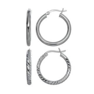 Pure 925 Sterling Silver Textured Hoop Earring Set