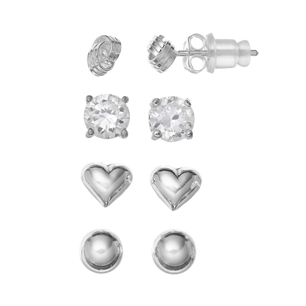 Pure 925 Cubic Zirconia Sterling Silver Heart, Love Knot & Ball Stud Earring Set