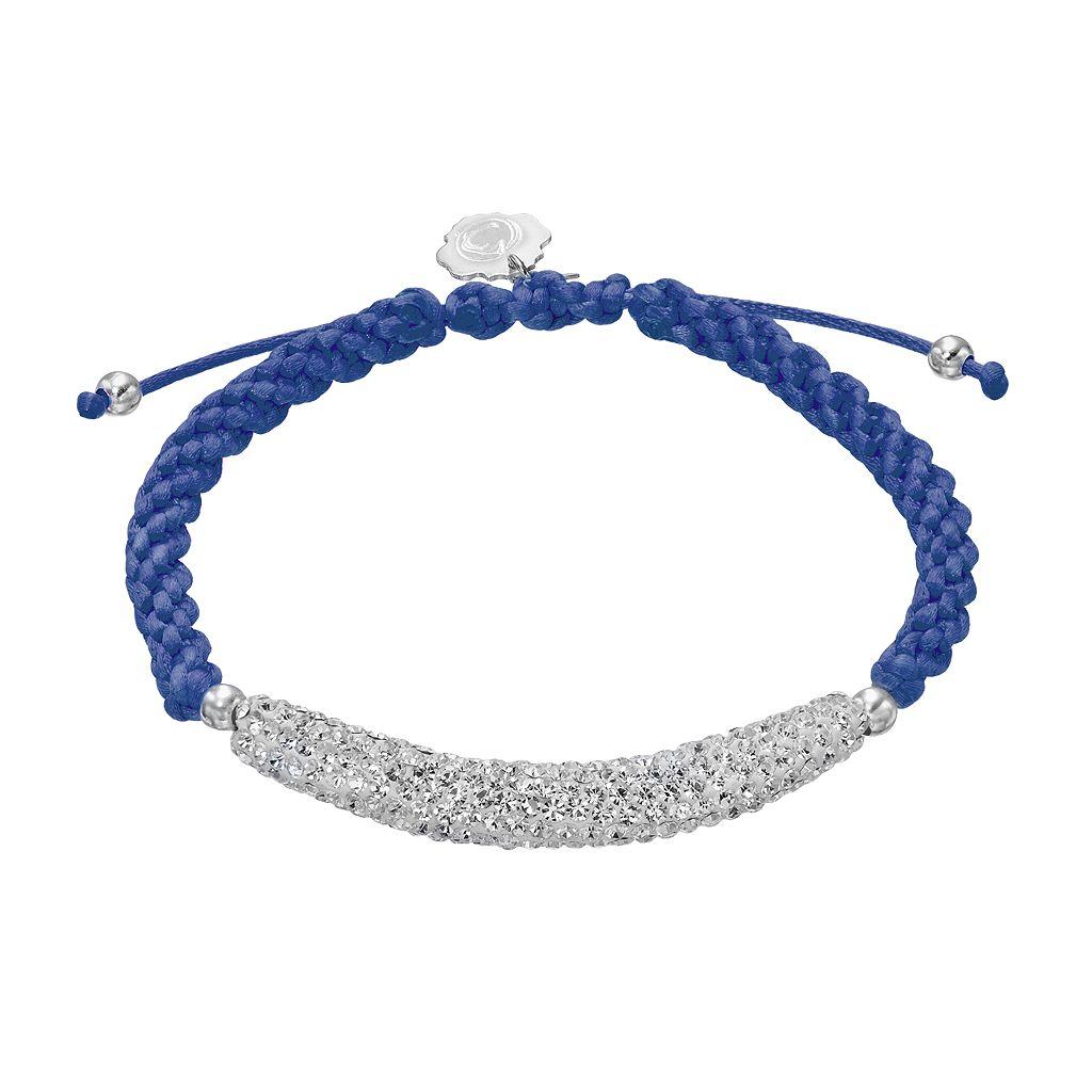 Penn State Nittany Lions Crystal Sterling Silver Bar Link & Team Logo Charm Slipknot Bracelet