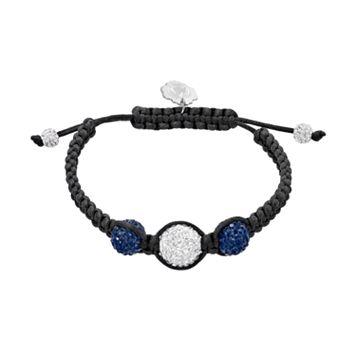 Penn State Nittany Lions Crystal Ball & Sterling Silver Team Logo Slipknot Bracelet