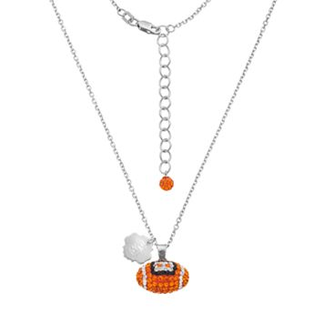 Syracuse Orange Sterling Silver Team Logo & Crystal Football Pendant Necklace