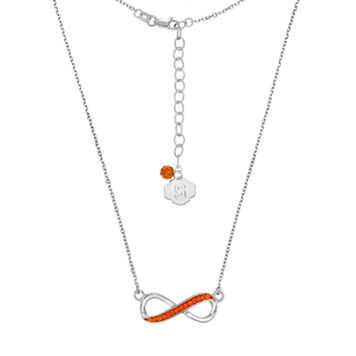 Syracuse Orange Sterling Silver Crystal Infinity Necklace