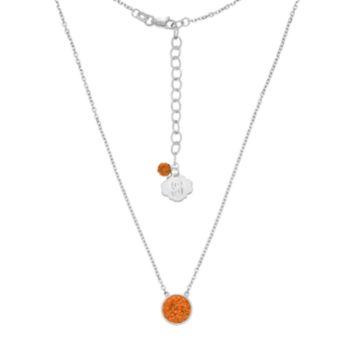 Syracuse Orange Sterling Silver Crystal Disc Necklace