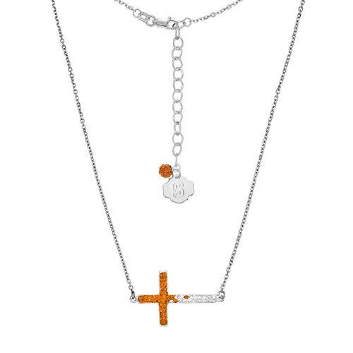Syracuse Orange Sterling Silver Crystal Sideways Cross Necklace
