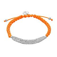 Syracuse Orange Crystal Sterling Silver Bar Link & Team Logo Charm Slipknot Bracelet