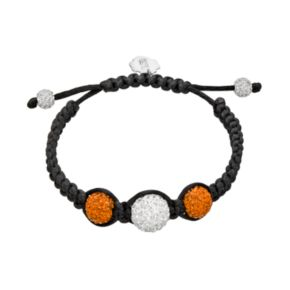 Syracuse Orange Crystal Ball & Sterling Silver Team Logo Slipknot Bracelet