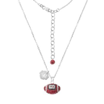 Texas A&M Aggies Sterling Silver Team Logo & Crystal Football Pendant Necklace