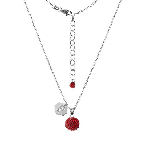 Texas Tech Red Raiders Crystal Sterling Silver Team Logo & Ball Pendant Necklace
