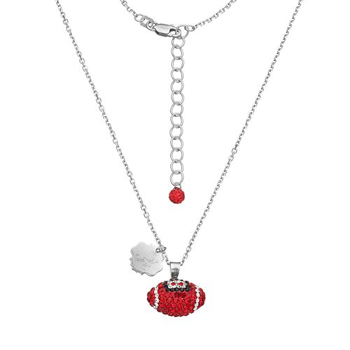 Alabama Crimson Tide Sterling Silver Team Logo & Crystal Football Pendant Necklace