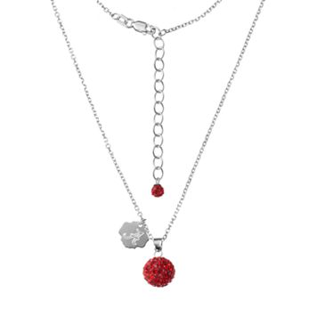 Alabama Crimson Tide Crystal Sterling Silver Team Logo & Ball Pendant Necklace