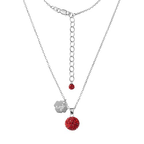 Alabama Crimson Tide Crystal Sterling Silver Team Logo & Ball Pendant Necklace