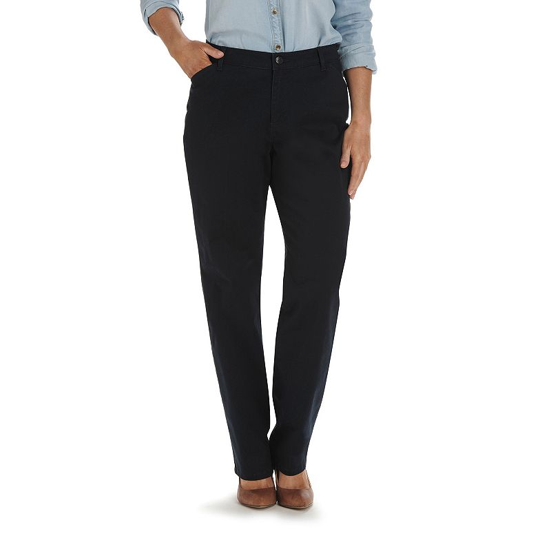 Women's Lee Relaxed Fit Straight-Leg Pants, Size: 4 - regular, Dark Blue