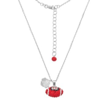 Arizona Wildcats Sterling Silver Team Logo & Crystal Football Pendant Necklace